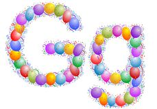 Balloons and confetti – Lett Royalty Free Stock Image