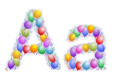Balloons and confetti Letter A. Party balloons, confetti and ribbon on the light blue background Stock Photos