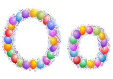 Balloons and confetti – Letter O Stock Photo