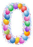 Balloons and confetti Number 0. Party balloons and confetti - Number zero Royalty Free Stock Images