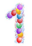 Balloons and confetti Number 1. Party balloons and confetti - Number one Royalty Free Stock Image