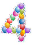 Balloons and confetti Number 4. Party Balloons and confetti - Number four Royalty Free Stock Photos