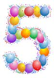 Balloons and confetti Number 5. Party balloons and confetti - Number Royalty Free Stock Images