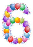 Balloons and confetti Number 6. Party balloons and confetti - Number six Stock Photo