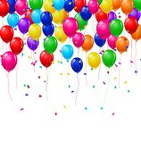 Balloons and confetti Stock Images