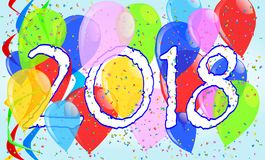 2018 Balloons and Confetti Party. Multi coloured balloons, confetti and streamers, a party image with the numeral 2018 royalty free illustration