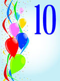 10 Balloons and Confetti Party. Multi coloured balloons, confetti and streamers, a party image with the numeral 10 stock illustration