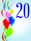 20 Balloons and Confetti Party. Multi coloured balloons, confetti and streamers, a party image with the numeral 20 royalty free illustration
