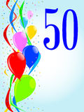 50 Balloons and Confetti Party. Multi coloured balloons, confetti and streamers, a party image with the numeral 50 stock illustration