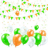 Balloons and confetti. Patricks day background with colorful balloons, pennants and confetti, illustration Stock Images