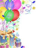 Balloons Confetti Presents for Birthday Party Stock Photo