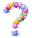 Balloons and confetti - Question Mark stock illustration