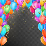 Balloons, confetti and red gold ribbons. EPS 10. Celebration background template with balloons, confetti and red gold ribbons on transparent background. EPS 10 Royalty Free Stock Image
