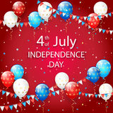 Balloons and confetti on red Independence Day background. USA Independence day. Theme 4th of july with flying colorful balloons, pennants and confetti Stock Photography