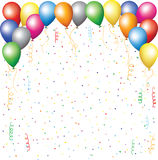Balloons, confetti and serpantine Royalty Free Stock Image