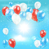 Balloons and confetti in the sky. Background with tricolor balloons and confetti in the sky, illustration Royalty Free Stock Image