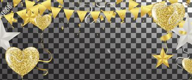 Balloons, confetti and streamers. Vector illustration. Vector  b. Ackground with party lights bright vector poster Royalty Free Stock Photos