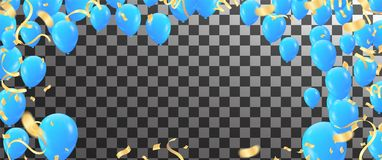 Balloons, confetti and streamers. Vector illustration. Vector  b. Ackground with party lights bright vector poster Royalty Free Stock Image