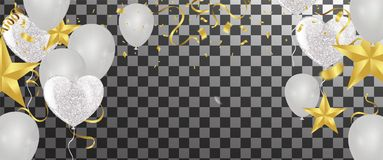 Balloons, confetti and streamers. Vector illustration. Vector  b. Ackground with party lights bright vector poster Royalty Free Stock Photography