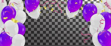 Balloons, confetti and streamers. Vector illustration. Vector  b. Ackground with party lights bright vector poster Stock Images