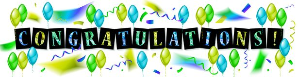 Balloons with confetti and text Congrats. Eps 10 vector file Stock Image