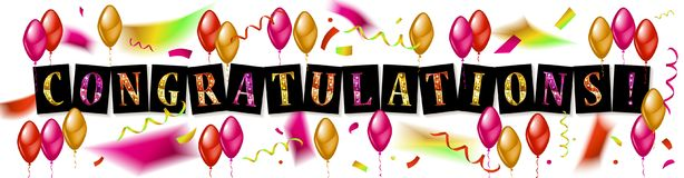 Balloons with confetti and text Congrats. Eps 10 vector file Stock Photography