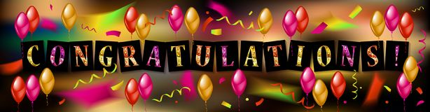 Balloons with confetti and text Congrats. Eps 10 vector file Stock Photo