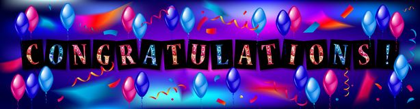Balloons with confetti and text Congrats. Eps 10 vector file Stock Images