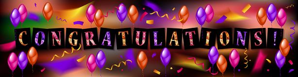 Balloons with confetti and text Congrats. Eps 10 vector file Royalty Free Stock Images