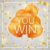 Balloons with confetti and text Congratulations you win. Winner concept. Eps 10 vector illustration Royalty Free Stock Photo