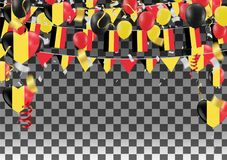 Balloons with Countries flags of national Belgium flags team gro. Up and ribbons flag ribbons, Celebration background template. victory.winner.football Royalty Free Stock Image