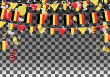Balloons with Countries flags of national Belgium flags team gro. Up and ribbons flag ribbons, Celebration background template. victory.winner.football Royalty Free Stock Photography