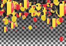 Balloons with Countries flags of national Belgium flags team gro. Up and ribbons flag ribbons, Celebration background template. victory.winner.football Royalty Free Stock Photo
