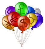 Balloons with currency signs Stock Photos