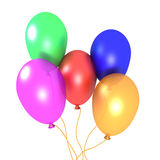 Balloons. 3D image of five balloons on white background Royalty Free Stock Images