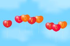 Balloons with a Declaration of love. Royalty Free Stock Photo