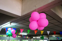 balloons decorated inside building Royalty Free Stock Image