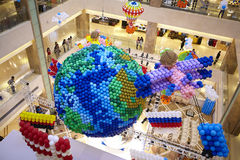 Balloons decoration at mall gallery earth country flag fire balloon fire balloon Stock Photo