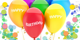 Balloons and decoration. White background with colored balloons happy birthday Stock Images