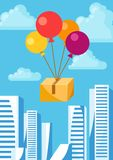 Balloons with delivery box. Conceptual illustration of shipping goods by air Royalty Free Stock Photo