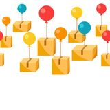 Balloons with delivery boxes. Conceptual illustration of shipping goods by air Stock Photography