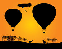 Balloons derizhabl two deer trees Stock Image