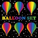 Set of multicolored balloons. Balloons for design publications devoted to aeronautics and air fiesta Royalty Free Stock Photos