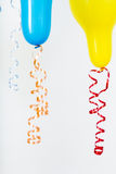 Balloons of different bright colors on a white background Stock Photo