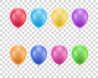 Balloons different colors transparent background set. Balloons of different colors on a transparent background set. Colored balloons of realistic set on a royalty free illustration