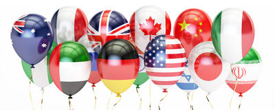 Balloons with different flags of countries, holyday concept. 3D Stock Images
