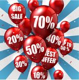 Balloons and discounts background Stock Photos