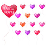 Balloons with discounts in the form of hearts Stock Image