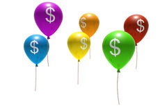 Balloons with dollar symbols Stock Photos