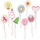 Balloons with drawings of the New Year. Illustration on white background royalty free illustration